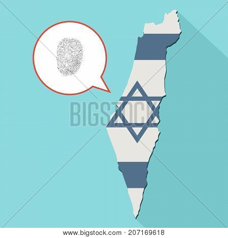 Illustration Of A Long Shadow Israel Map With Its Flag And A Comic Balloon With A Fingerprint