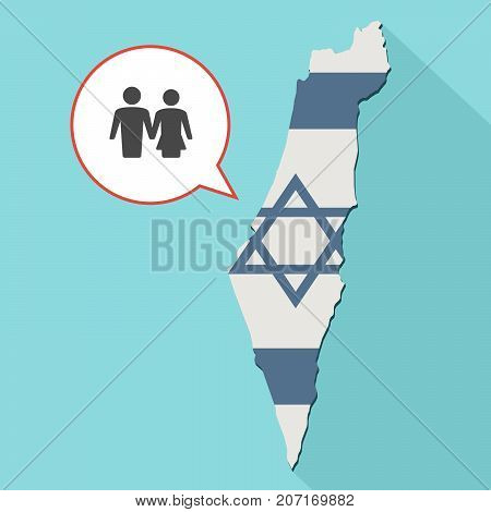 Illustration Of A Long Shadow Israel Map With Its Flag And A Comic Balloon With A Heterosexual Coupl