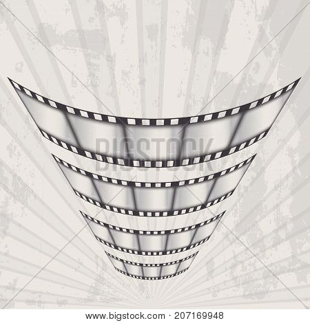 vector old movie poster in grunge style. film cut flying on the background of diverging rays