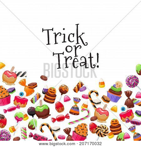 Halloween sweets background with greetings. Candies and snacks. - hard candy, chocolate egg and bar, candy cane, lollipop, peppermint. Vector illustration. Good for holiday designs.