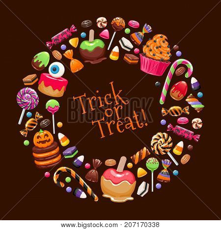 Halloween sweets round frame. Candies and snacks. - hard candy, chocolate egg and bar, candy cane, lollipop, peppermint. Vector illustration. Good for holiday designs.