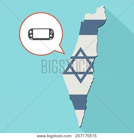 Illustration Of A Long Shadow Israel Map With Its Flag And A Comic Balloon With A Psp Video Game Pad