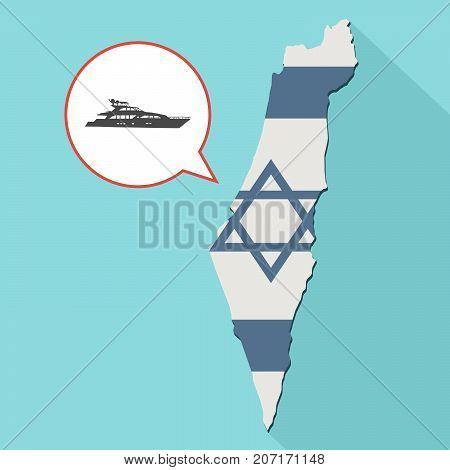 Illustration Of A Long Shadow Israel Map With Its Flag And A Comic Balloon With A Yacht Boat
