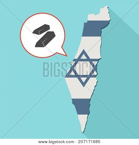Illustration Of A Long Shadow Israel Map With Its Flag And A Comic Balloon With Two Gold Bullions