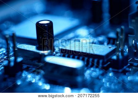 Microprocessor with motherboard background. Computer board chip circuit. Microelectronics hardware concept. electronic device.