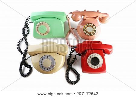 Retro telephones isolated on a white background