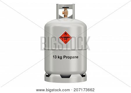 Propane cylinder 3D rendering isolated on white background