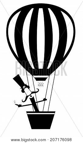 Cartoon mustache man in the top hat flies on the air balloon and smokes cigar