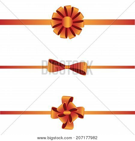 Gift present bow on horizontal ribbon for package, wrapping. Vector decorative element on isolated background. Holiday decor