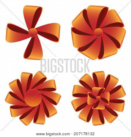 Collection of bow from ribbons. Vector illustration of decoration on isolated bacground. Decor elements for polygraphic design.
