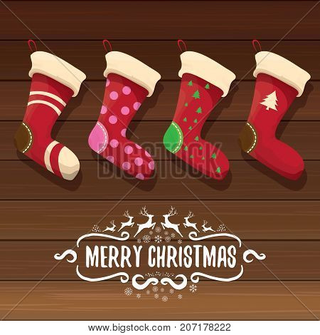 vector cartoon cute christmas stocking or socks with color ornament. Merry Christmas vector greeting card or background with calligraphic text on old vintage wooden background