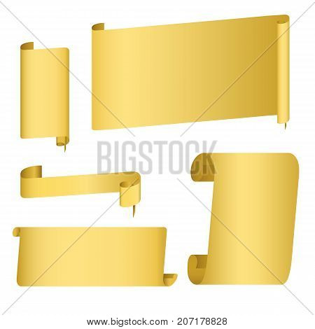 Golden or rusty flat gradient scroll, wide ribbons, parchment, papyrus, old paper. Decoration for banner, invitation, greeting card. Vector illustration on isolated background.