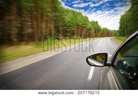car moves at fast speed in the forest, blurred motion