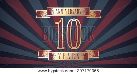 10 years anniversary vector icon logo. Graphic design element with abstract background for 10th anniversary card