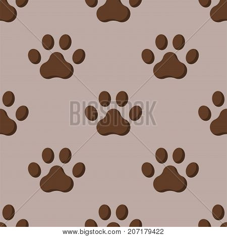 Dog or cat paw dog footprint flat seamless pattern animal walk background shape silhouette vector illustration. Cartoon wildlife trace wild pet toe.