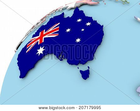 Australia On Globe With Flag