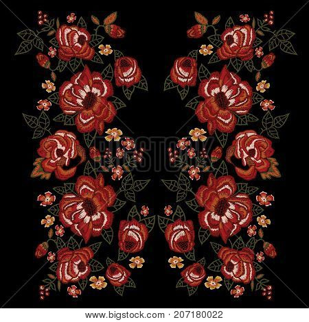 Embroidery ethnic neckline pattern with trend red roses. Vector embroidered floral patch with flowers for clothing design.
