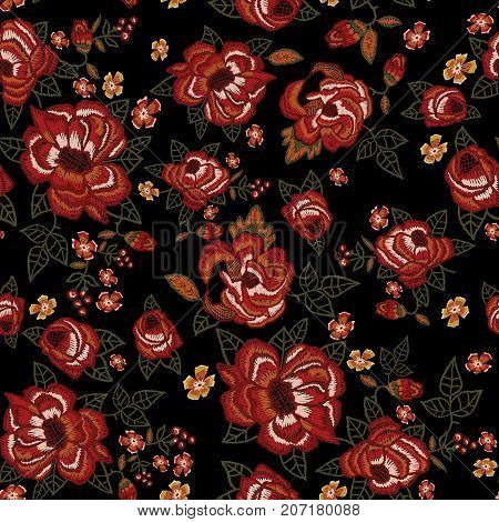 Embroidery ethnic seamless pattern with red roses. Vector embroidered floral patch sketch with flowers for clothing design.