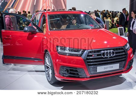 Frankfurt-September 20: Audi SQ7 at the Frankfurt International Motor Show on September 20 2017 in Frankfurt