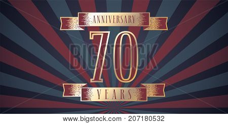 70 years anniversary vector icon logo. Graphic design element with abstract background for 70th anniversary card