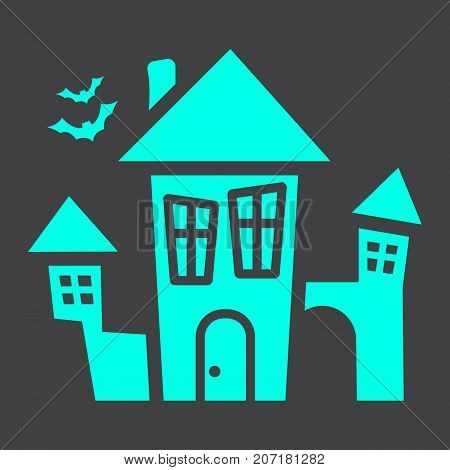 Scary House glyph icon, halloween and scary, creepy home sign vector graphics, a solid pattern on a black background, eps 10.