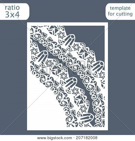 Laser cut wedding invitation card template with space for text. Cut out the paper card with lace pattern. Greeting card template for cutting plotter. Vector.