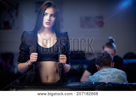 Beautiful Young Woman Relax In Night Club.