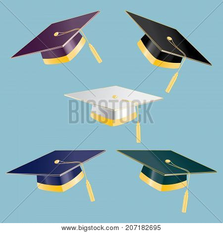 Set of 5 graduation student hats with golden elements