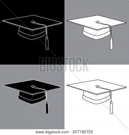 Set of black gray white lines graduation student hats