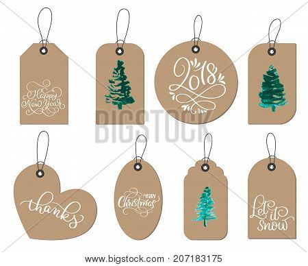 collection of kraft paper christmas gift tags. Calligraphy lettering hand made text. Vector illustration EPS10.