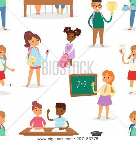 Back to school kids boys and girls children school-time seamless pattern background vector illustration