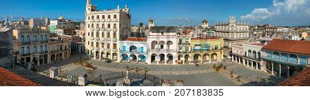 HAVANA,CUBA-JULY 26,2006: The top panoramic view of the old square in Havana Plaza Vieja