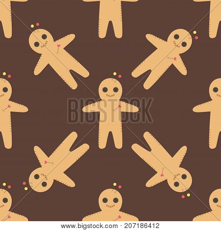 Voodoo doll flats seamless pattern punishment sign spirituality anger magic toy halloween needle witchcraft horror symbol vector illustration. Dead power curse traditional scary magical concept.