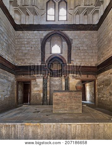 Cairo, Egypt - September 23, 2017: Interior of Mausoleum of al-Nasir Muhammad Ibn Qalawun Al Muizz Street Old Cairo Egypt