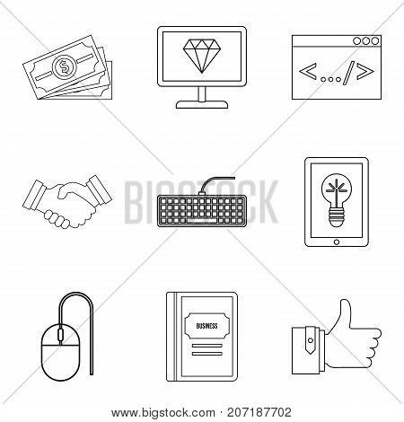 Professional programmer icons set. Outline set of 9 professional programmer vector icons for web isolated on white background