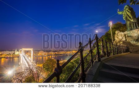 Budapest Hungary - The night view of Budapest from Gellert Hill at blue hour