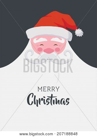 Christmas greeting illustration card. Happy Santa with a beard with empty space for your text. Santa Claus character with a banners for design flyers, postcards, invitations and more.