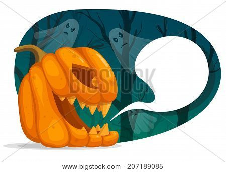 Vector illustration of Halloween pumpkin characters. Jack o Lantern head with speech bubble. Creepy dark forest with ghosts. Realistic style