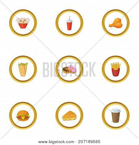 Unhealthy food icons set. Cartoon style set of 9 unhealthy food vector icons for web design