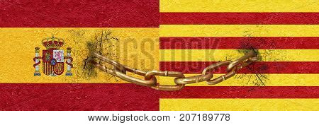 Catalunya And Spain United Concept Design