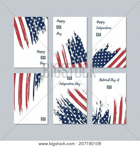 Usa Patriotic Cards For National Day. Expressive Brush Stroke In National Flag Colors On White Card
