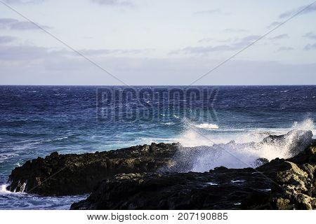 Waves in Atlantic Ocean / Los Cocoteros, Lanzarote, Canary Islands, Spain