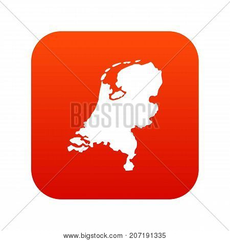 Holland map icon digital red for any design isolated on white vector illustration
