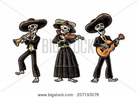Day of the Dead, Dia de los Muertos. The skeleton in the Mexican national costumes dance, sing and play the guitar, violin, trumpet. Vector hand drawn vintage engraving isolated on white background