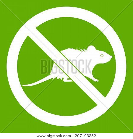 No rats sign icon white isolated on green background. Vector illustration