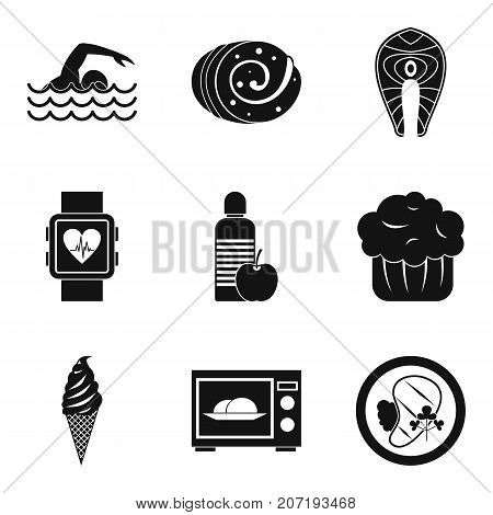 Calorie icons set. Simple set of 9 calorie vector icons for web isolated on white background