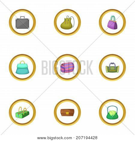 Bags and suitcases icons set. Cartoon style set of 9 bags and suitcases vector icons for web design