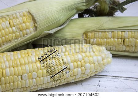 Fresh Ears Of Corn With Nutrition Facts Label