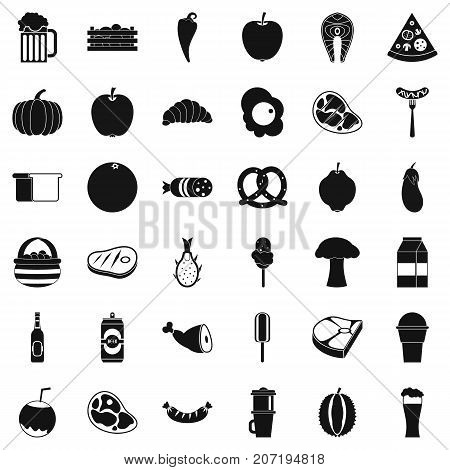 Breakfast icons set. Simple style of 36 breakfast vector icons for web isolated on white background
