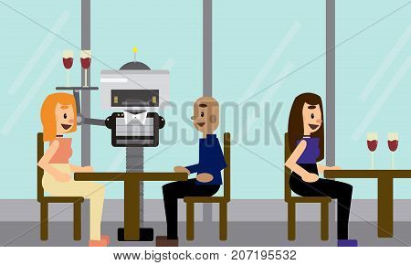 Domestic robot waiter carrying a tray with glasses serving customers at restaurant. Robotic assistance futuristic concept illustration vector.